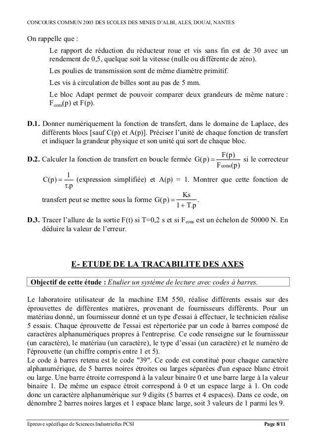CONCOURS COMMUN 2003 DES ECOLES DES MINES D'ALBI, ALES, DOUAI, NANTESOn rappelle que :          Le rapport de réduction du...