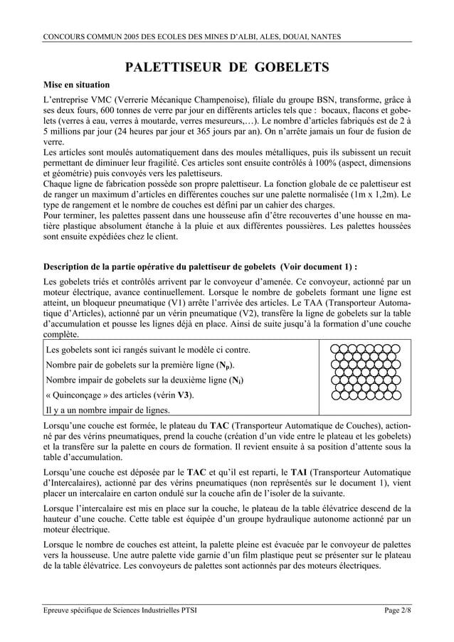 CONCOURS COMMUN 2005 DES ECOLES DES MINES D'ALBI, ALES, DOUAI, NANTES                          PALETTISEUR DE GOBELETSMise...