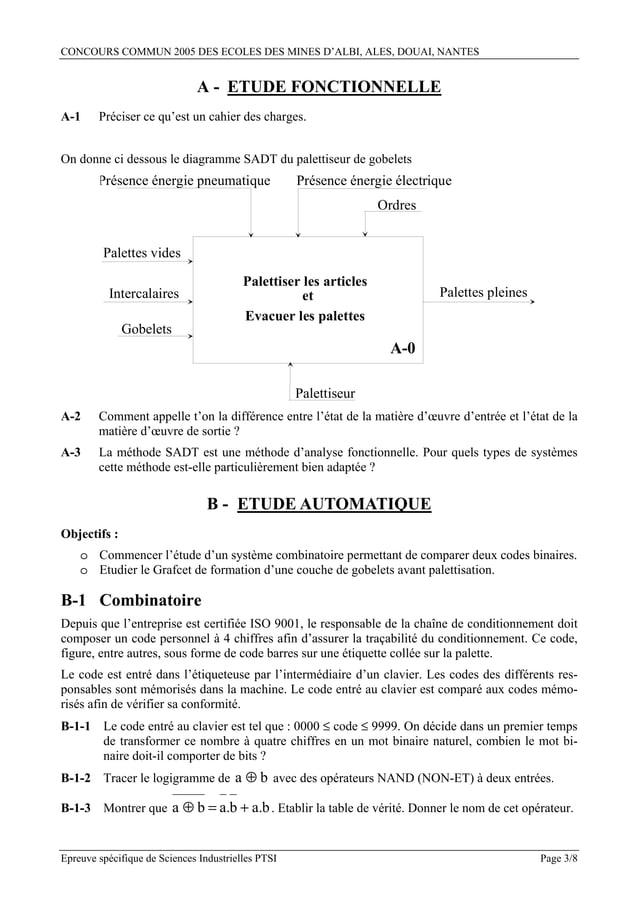 CONCOURS COMMUN 2005 DES ECOLES DES MINES D'ALBI, ALES, DOUAI, NANTES                              A - ETUDE FONCTIONNELLE...
