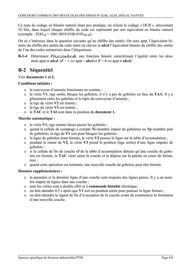CONCOURS COMMUN 2005 DES ECOLES DES MINES D'ALBI, ALES, DOUAI, NANTESCe type de codage en binaire naturel étant peu pratiq...