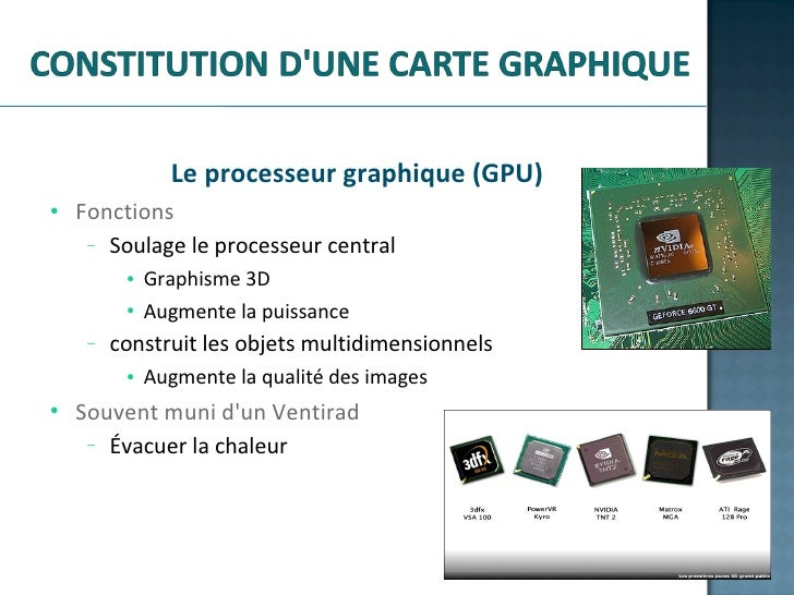 <ul><li>Le processeur graphique (GPU) </li></ul><ul><ul><li>Fonctions </li></ul></ul><ul><ul><ul><li>Soulage le processeur...