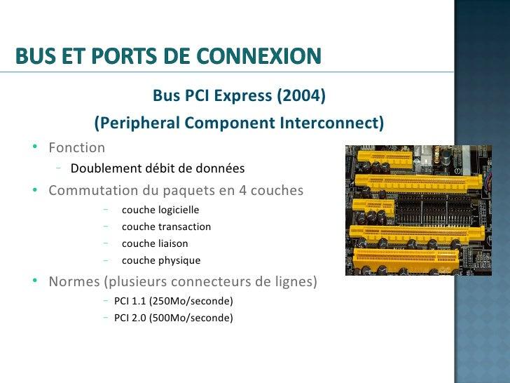 <ul><li>Bus PCI Express (2004) </li></ul><ul><li>(Peripheral Component Interconnect) </li></ul><ul><ul><li>Fonction </li><...