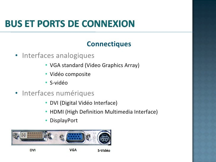 <ul><li>Connectiques </li></ul><ul><li>Interfaces analogiques </li></ul><ul><ul><ul><ul><li>VGA standard (Video Graphics A...