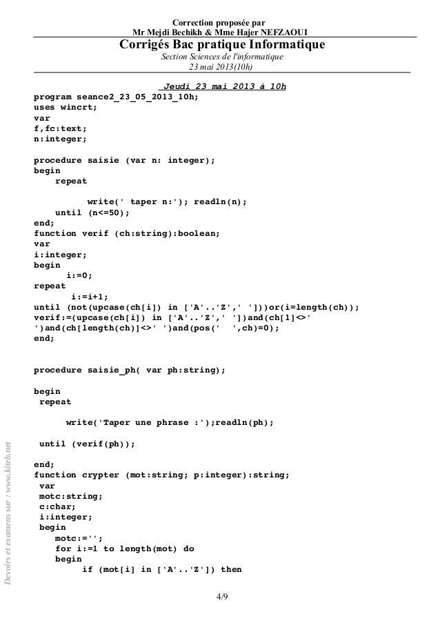 8 corrigs bac pratique informatique section sciences - Resume Informatique Bac Science