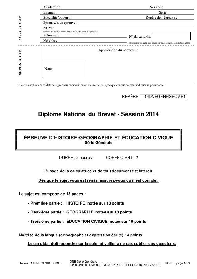 Académie : Session : Examen : Série : Spécialité/option : Repère de l'épreuve : Epreuve/sous épreuve : NOM : (en majuscule...