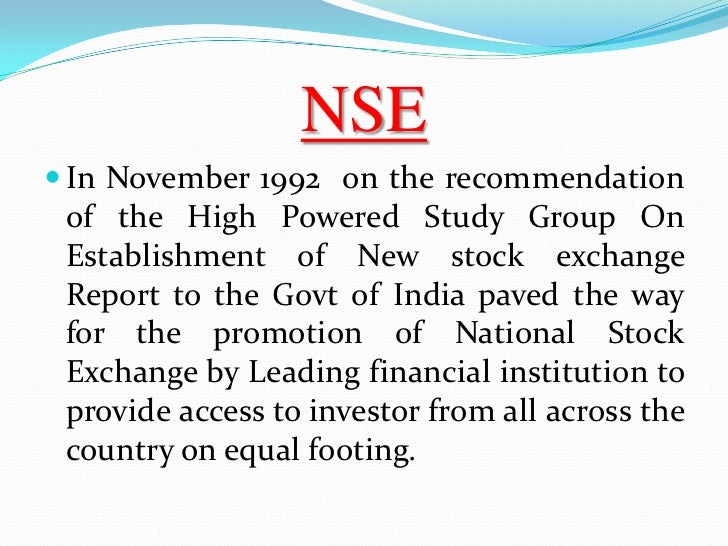 Short Essay on the National Stock Exchange of India