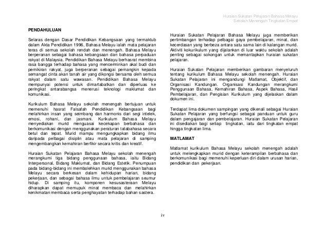 Sukatan Pelajaran Bahasa Melayu Tingkatan 4
