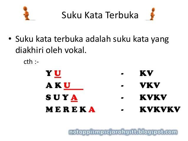 Suku Kata Terbuka• Suku kata terbuka adalah suku kata yangdiakhiri oleh vokal.cth :-Y U - KVA K U - VKVS U Y A - KVKVM E R...
