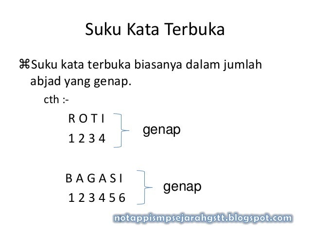 Suku Kata TerbukaSuku kata terbuka biasanya dalam jumlahabjad yang genap.cth :-R O T I1 2 3 4B A G A S I1 2 3 4 5 6genapg...