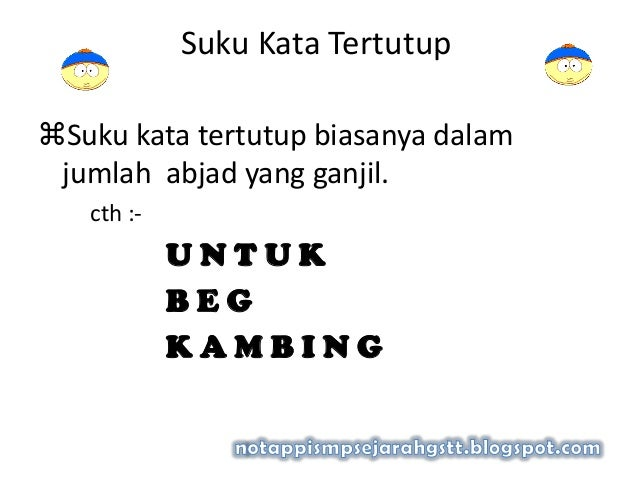 Suku Kata TertutupSuku kata tertutup biasanya dalamjumlah abjad yang ganjil.cth :-U N T U KB E GK A M B I N G