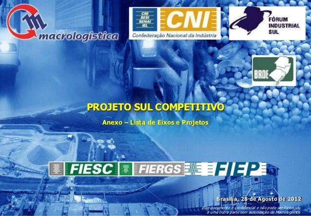 PROJETO SUL COMPETITIVO  Anexo – Lista de Eixos e Projetos                                        Brasilia, 28 de Agosto d...