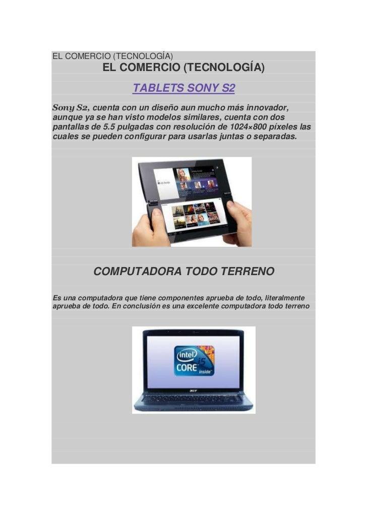 EL COMERCIO (TECNOLOGÍA)<br />EL COMERCIO (TECNOLOGÍA)<br />TABLETS SONY S2<br />Sony S2,cuenta con un diseño aun mucho m...