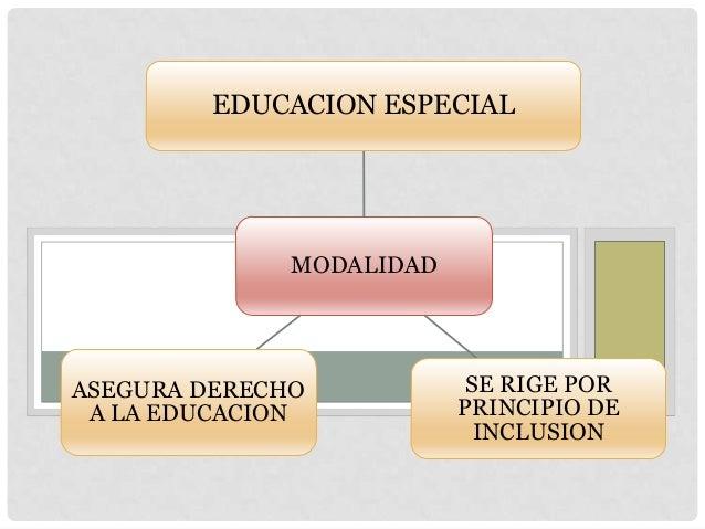 MODALIDAD EDUCACION ESPECIAL SE RIGE POR PRINCIPIO DE INCLUSION ASEGURA DERECHO A LA EDUCACION