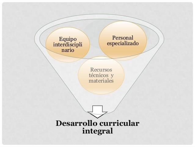 Desarrollo curricular integral Recursos técnicos y materiales Equipo interdiscipli nario Personal especializado