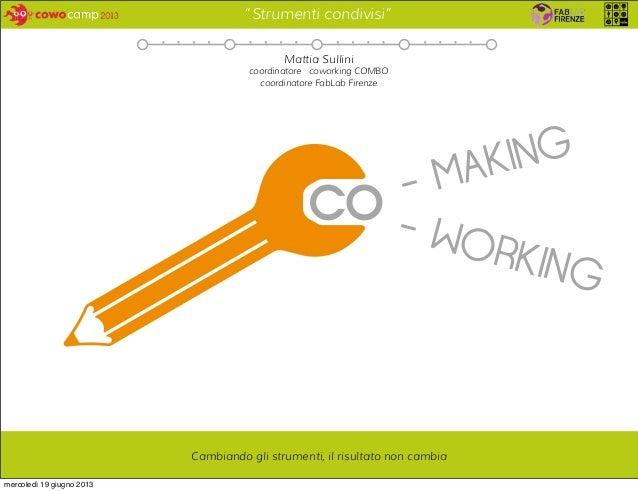 """""""Strumenti condivisi"""" - MAKING - WORKING Cambiando gli strumenti, il risultato non cambia Mattia Sullini coordinatore cowo..."""