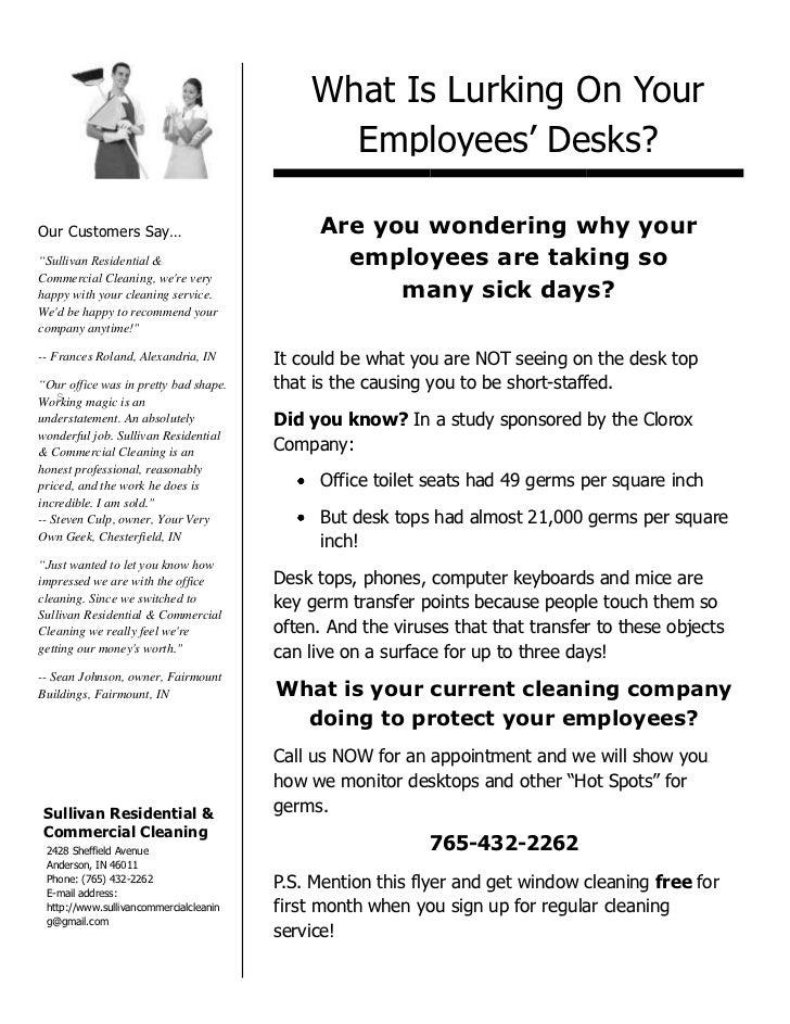 "What Is Lurking On Your Employees' Desks?<br />Our Customers Say…""Sullivan Residential & Commercial Cleaning, we're very h..."