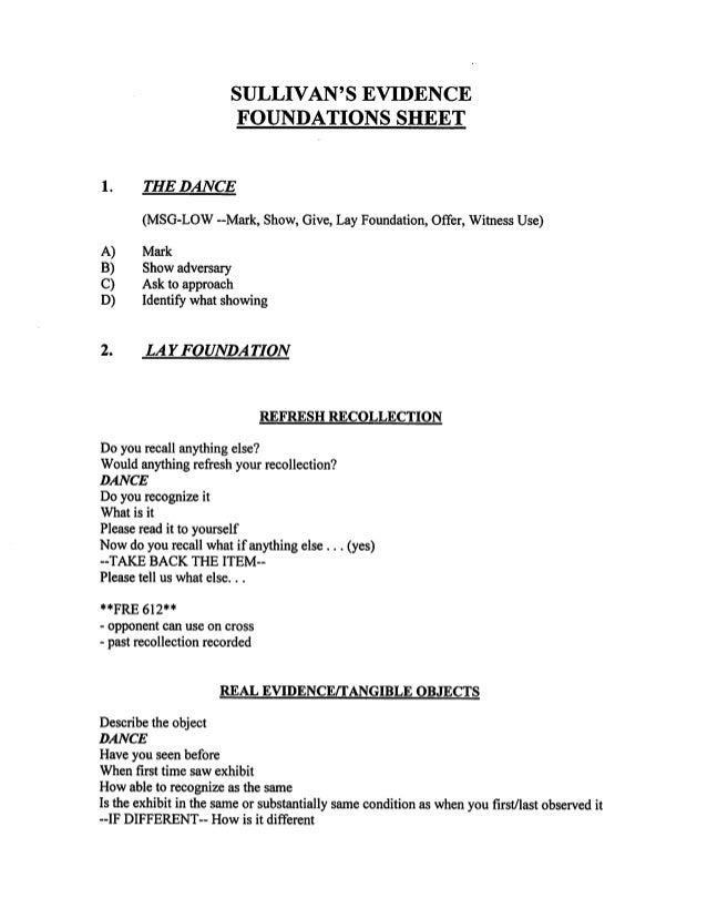 Sullivan's evidence foundation sheet