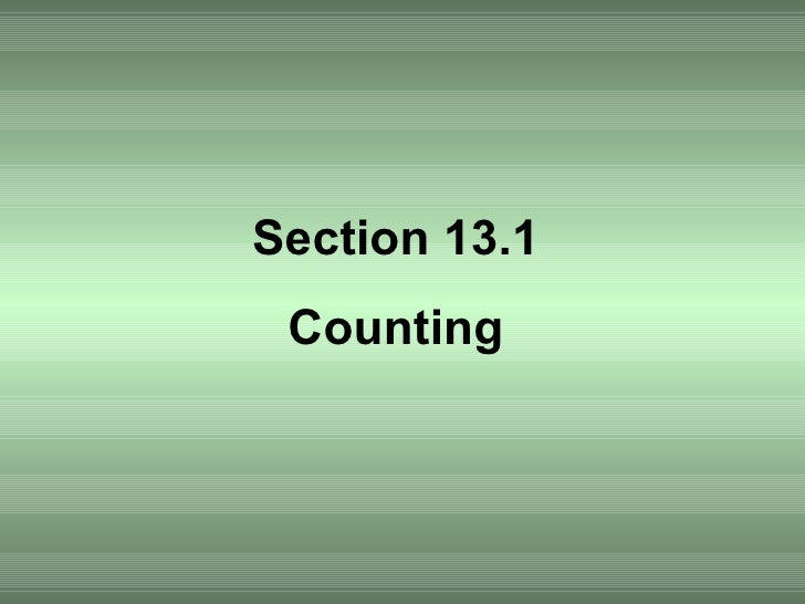 Section 13.1 Counting