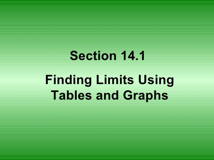 Section 14.1  Finding Limits Using Tables and Graphs