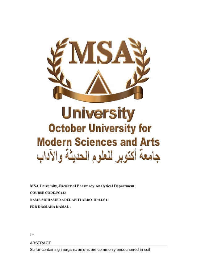 MSA University, Faculty of Pharmacy Analytical Department COURSE CODE,PC123 NAME:MOHAMED ADELAFIFI ABDO ID:142311 FOR DR:M...