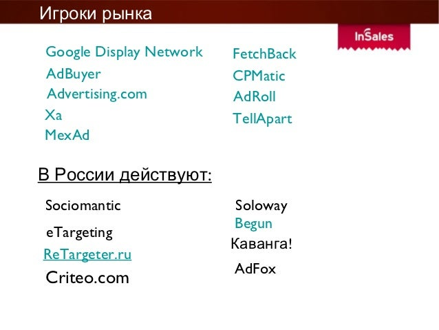 Игроки рынкаGoogle Display Network   FetchBackAdBuyer                  CPMaticAdvertising.com          AdRollXa           ...