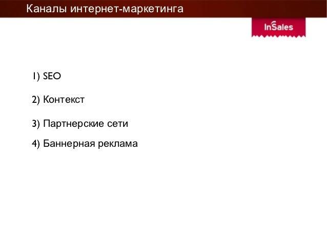 Каналы интернет-маркетинга1) SEO2) Контекст3) Партнерские сети4) Баннерная реклама