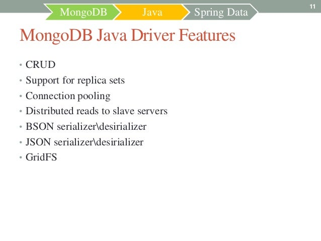 11           MongoDB           Java      Spring DataMongoDB Java Driver Features• CRUD• Support for replica sets• Connecti...