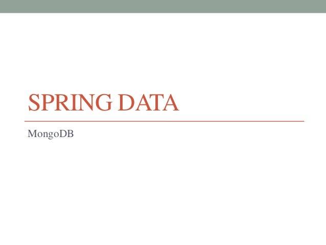 SPRING DATAMongoDB