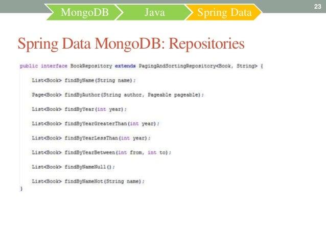 23      MongoDB     Java    Spring DataSpring Data MongoDB: Repositories