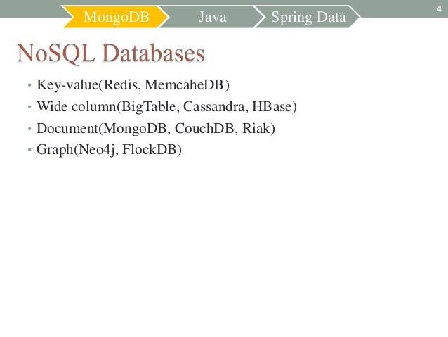 4        MongoDB           Java       Spring Data• Key-value(Redis, MemcaheDB)• Wide column(BigTable, Cassandra, HBase)• D...