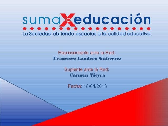 Representante ante la Red:Francisco Landero GutiérrezSuplente ante la Red:Carmen VieyraFecha: 18/04/2013
