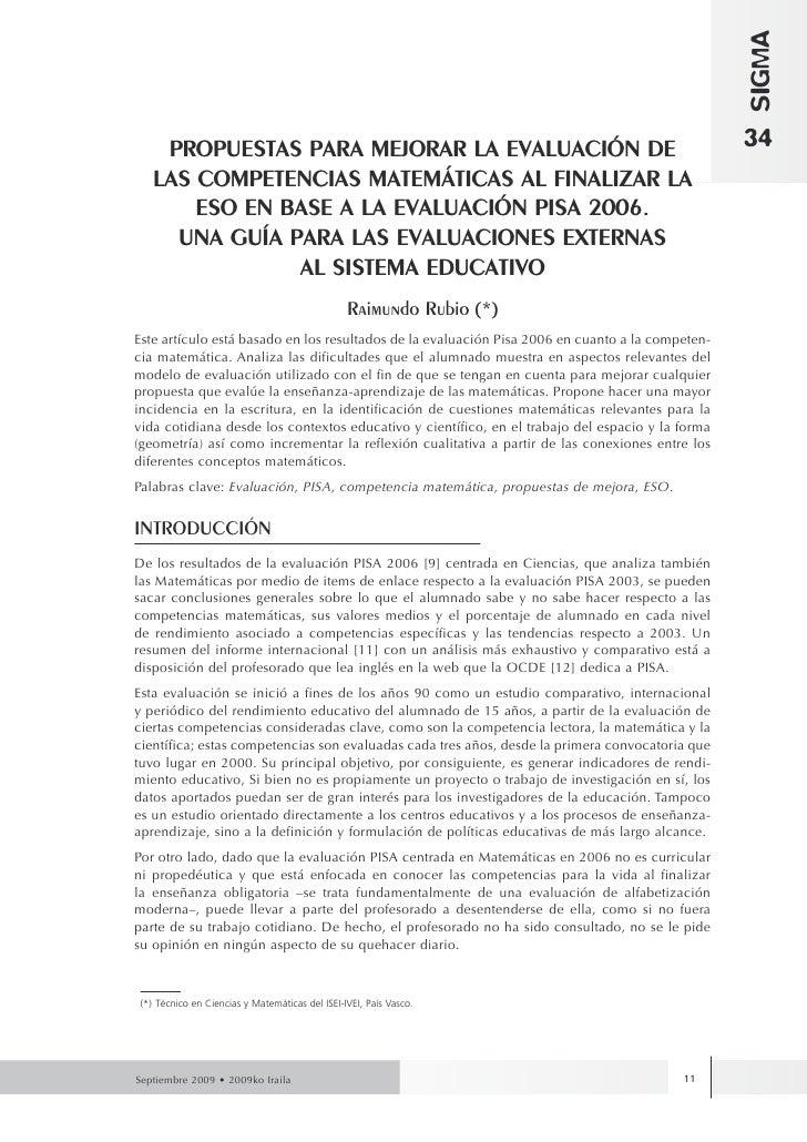 SIGMA     PROPUESTAS PARA MEJORAR LA EVALUACIÓN DE                                                      34    LAS COMPETEN...