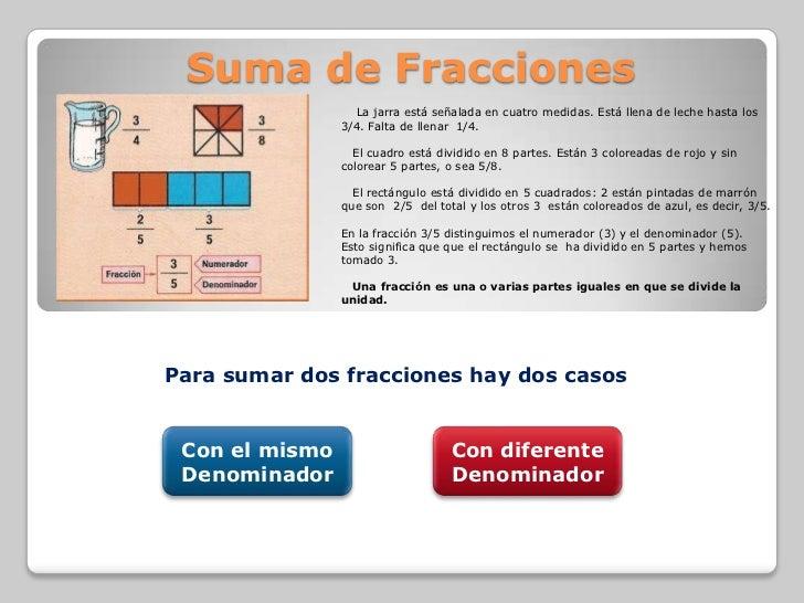 Suma de Fracciones                  La jarra está señalada en cuatro medidas. Está llena de leche hasta los               ...