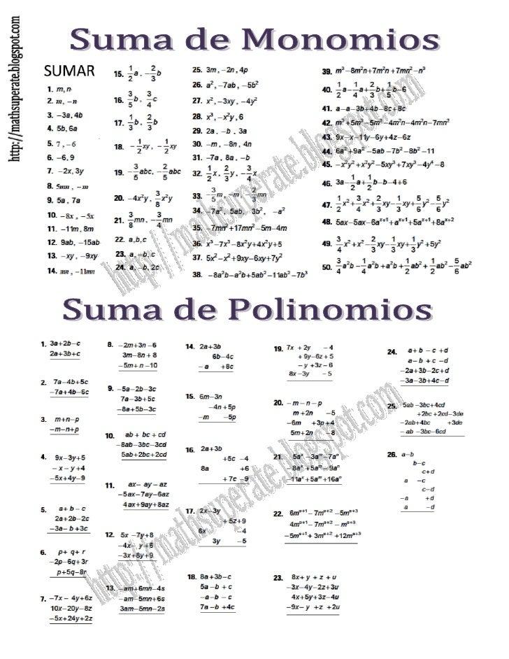 10 ejercicios de division polinomios entre monomios relationship