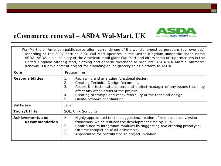 Order resume online asda