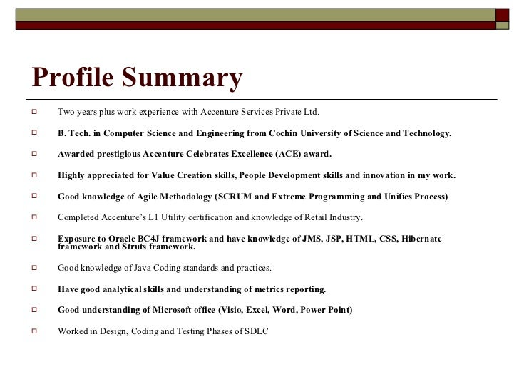 profile summary sample profile summary for resume