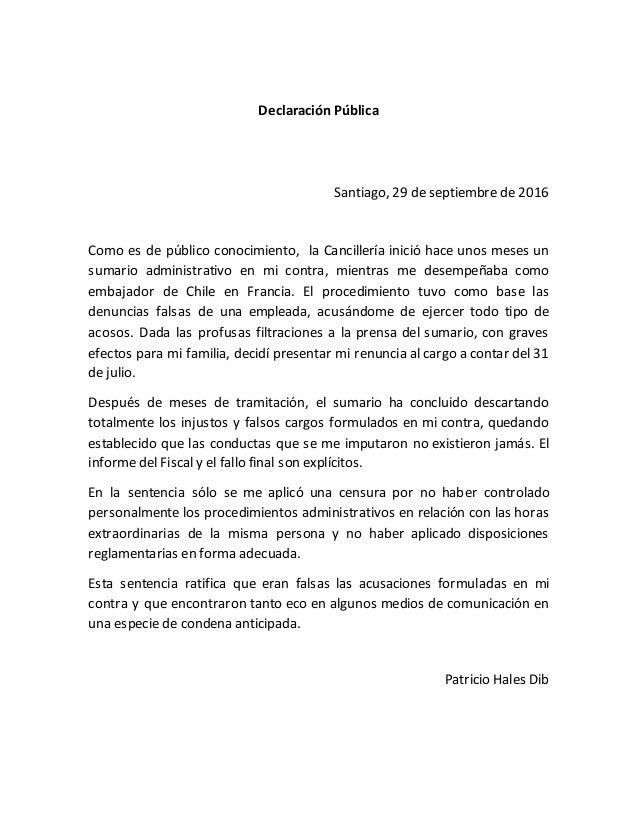 Declaración Pública Santiago, 29 de septiembre de 2016 Como es de público conocimiento, la Cancillería inició hace unos me...