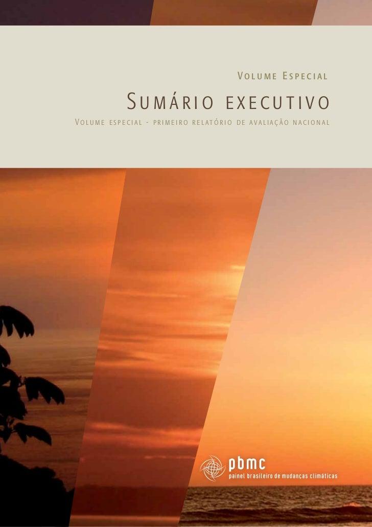Volume Especial                   Sumário executivoVo l u m e e s p e c i a l - p r i m e i r o r e l at ó r i o d e ava l...