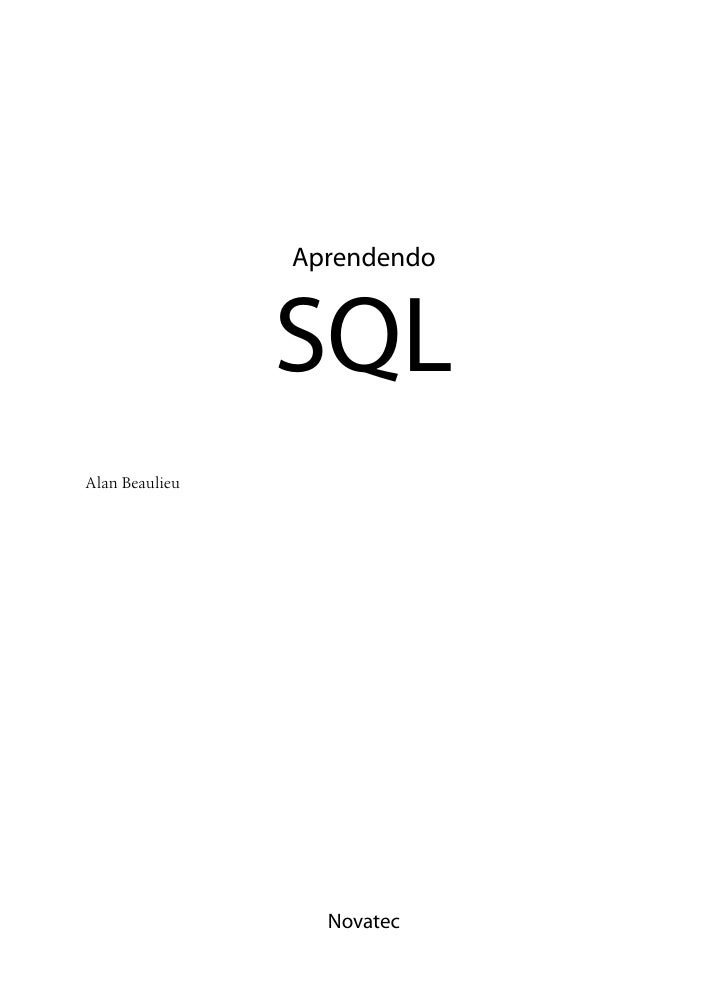 Aprendendo                SQLAlan Beaulieu                  Novatec