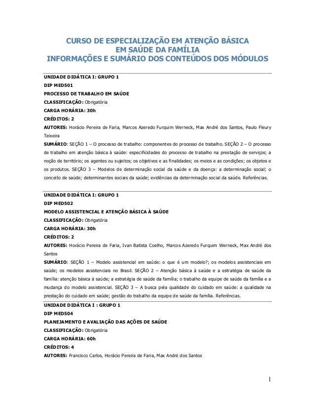 1 CURSO DE ESPECIALIZAÇÃO EM ATENÇÃO BÁSICA EM SAÚDE DA FAMÍLIA INFORMAÇÕES E SUMÁRIO DOS CONTEÚDOS DOS MÓDULOS UNIDADE DI...