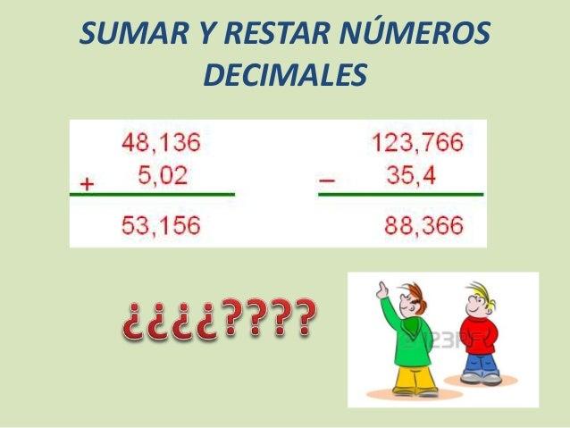 SUMAR Y RESTAR NÚMEROS  DECIMALES