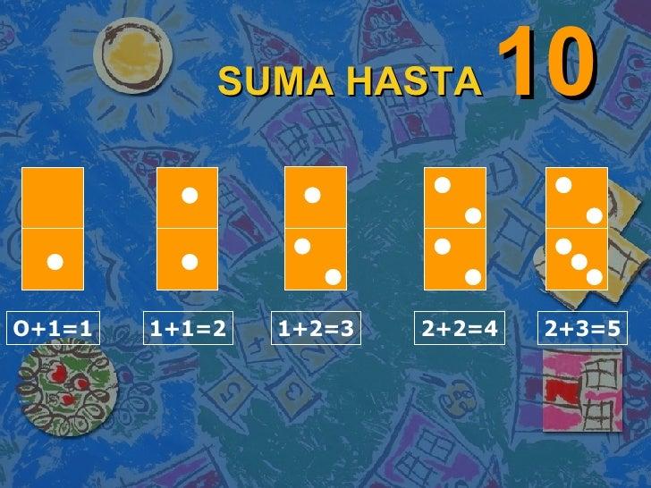 SUMA HASTA   10 O+1=1 1+1=2 1+2=3 2+2=4 2+3=5
