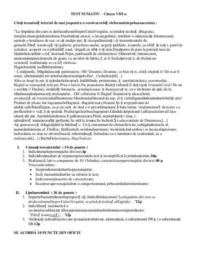 """TEST SUMATIV – Clasaa VIII-a Citeș tecuatenț ietextul de mai jospentru a rezolvacerinț eleformulatepebazaacestuia : """"La ră..."""