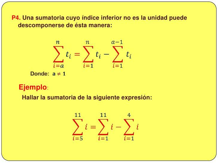<ul><li> PROPIEDADES</li></li></ul><li>P1. El número de sumandos  y de términos de una sumatoria es igual al índice superi...
