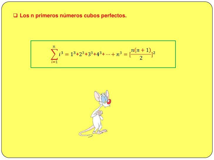 <ul><li>Los n primeros números impares naturales.</li></ul>𝑖=1𝑛(2𝑖−1)=1+3+5+7+…+(2𝑛−1)=𝑛2<br /><br />Demostración...