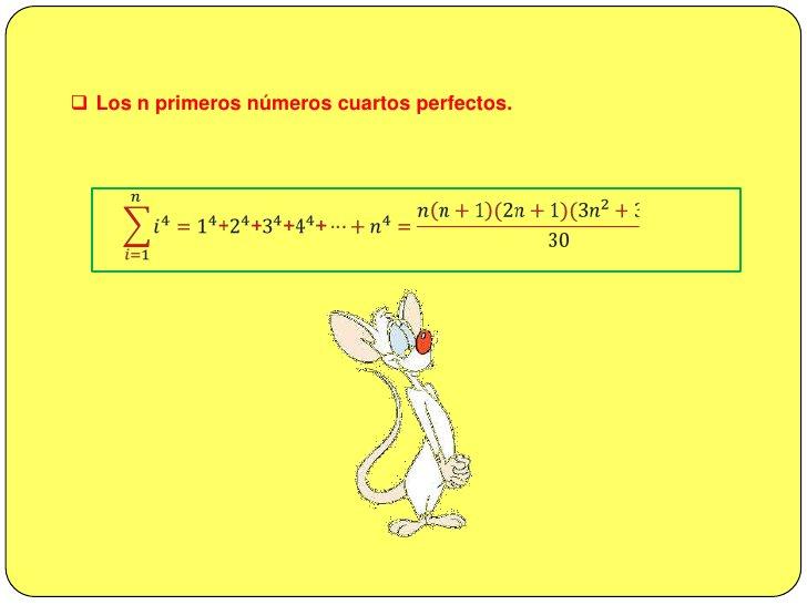 <ul><li>Los n primeros números cuadrados perfectos</li></ul>𝑖=1𝑛𝑖2=12+22+32+42+…+𝑛2=𝑛𝑛+1(2𝑛+1)6<br /><br />