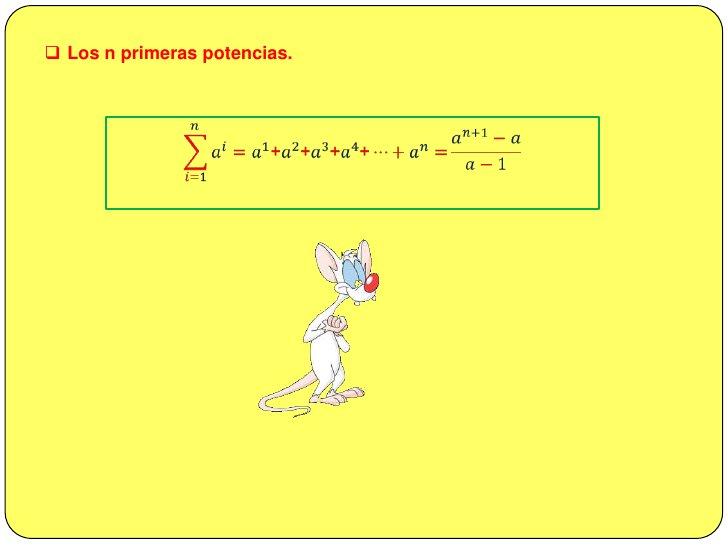 <ul><li>Los n primeros números cubos perfectos.</li></ul>𝑖=1𝑛𝑖3=13+23+33+43+…+𝑛3=[𝑛𝑛+12]2<br /><br />