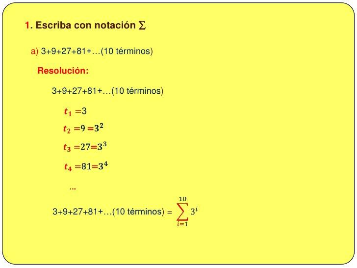 <ul><li>Los n primeras potencias.</li></ul>𝑖=1𝑛𝑎𝑖=𝑎1+𝑎2+𝑎3+𝑎4+…+𝑎𝑛=𝑎𝑛+1−𝑎𝑎−1<br /><br />