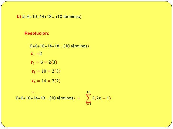 <ul><li>EJERCICIOS  RESUELTOS</li></li></ul><li>1. Escriba con notación ∑<br />a) 3+9+27+81+…(10 términos)<br />Resolución...