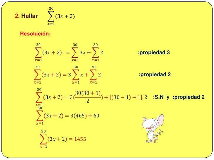b) 2+6+10+14+18…(10 términos)<br />Resolución:<br />2+6+10+14+18…(10 términos)<br />𝒕𝟏=2<br /><br />𝒕𝟐=6=2(3)<br /><br /...